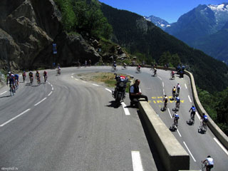 Etape du Tour riders on Alpe d'Huez