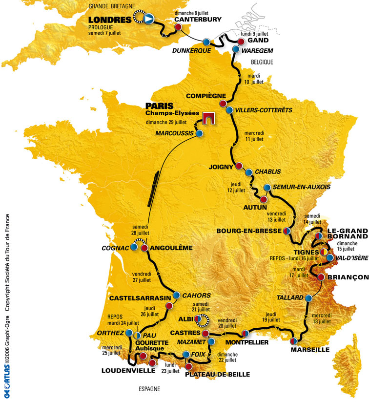 2007 tour de france route map