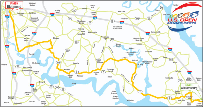 US Open Cycling Championships Route Map Teams - Us open map