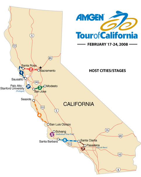 2008 tour of california route stages teams tv results and photos