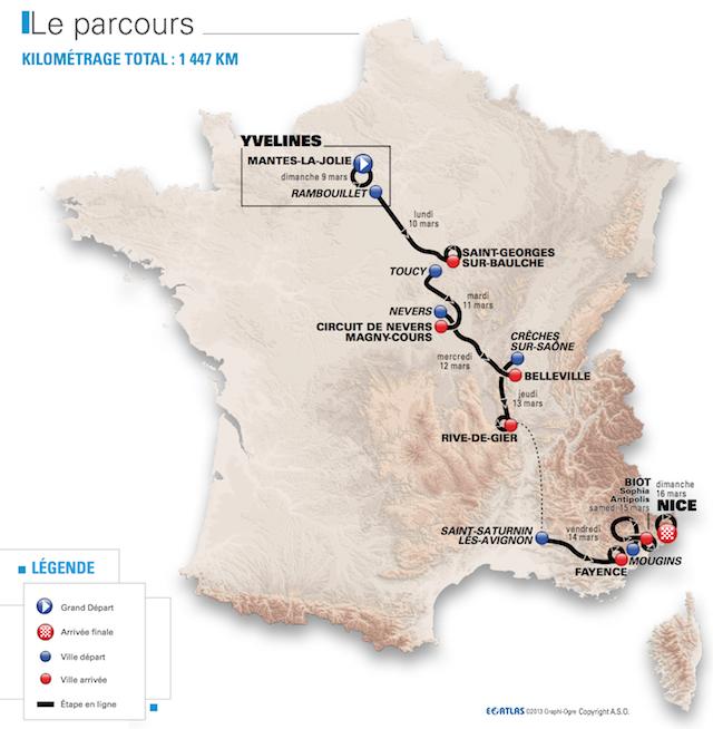 Paris-Nice 2014, la carrera hacia el sol Route-map