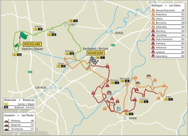 Photo: 2015 Dwars Door Vlaanderen Route Map .