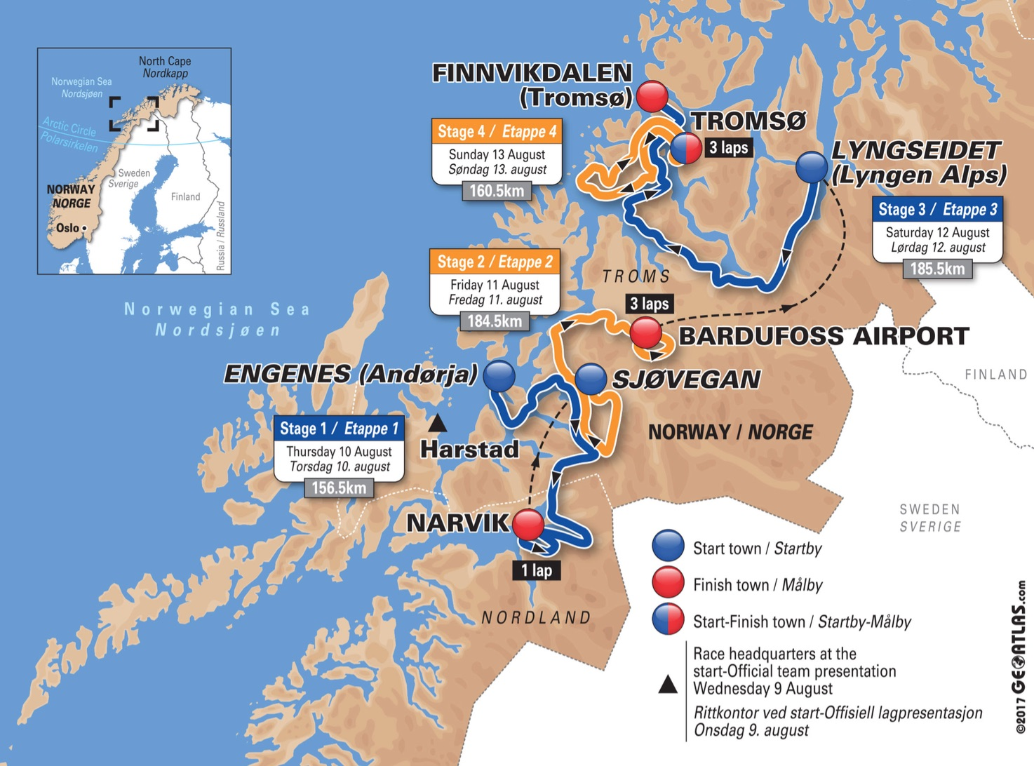 2017 Arctic Race of Norway Live Video Preview Startlist Route